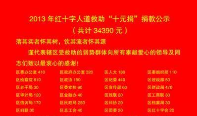 """东湖区红十字会2013年红十字人道救助""""十元捐""""捐款公示"""